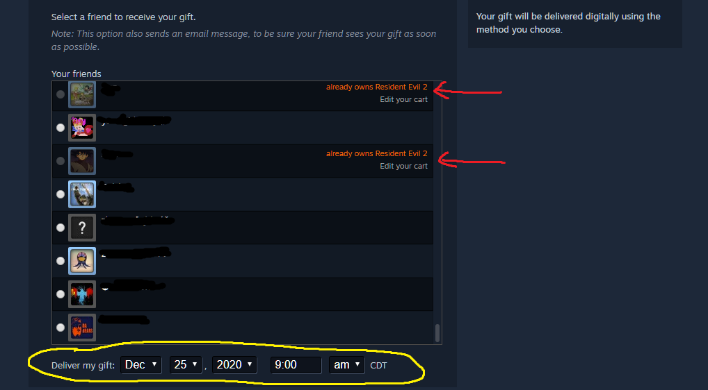 Steam purchase page showing which friends already own Resident Evil 2, and with delivery date selector
