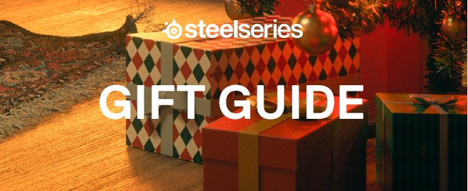 "Wrapped presents sitting on a wood floor with ""SteelSeries gift guide"" text"