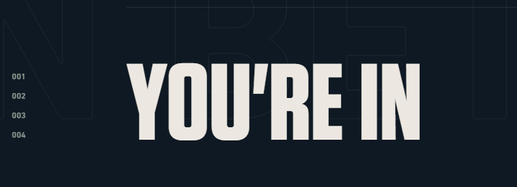 "Bold lettering from PlayValorant.com that reads ""YOU'RE IN"""
