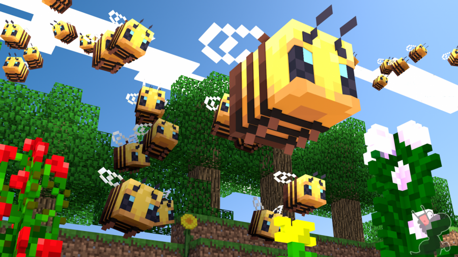 Some bees buzzing around in Minecraft.