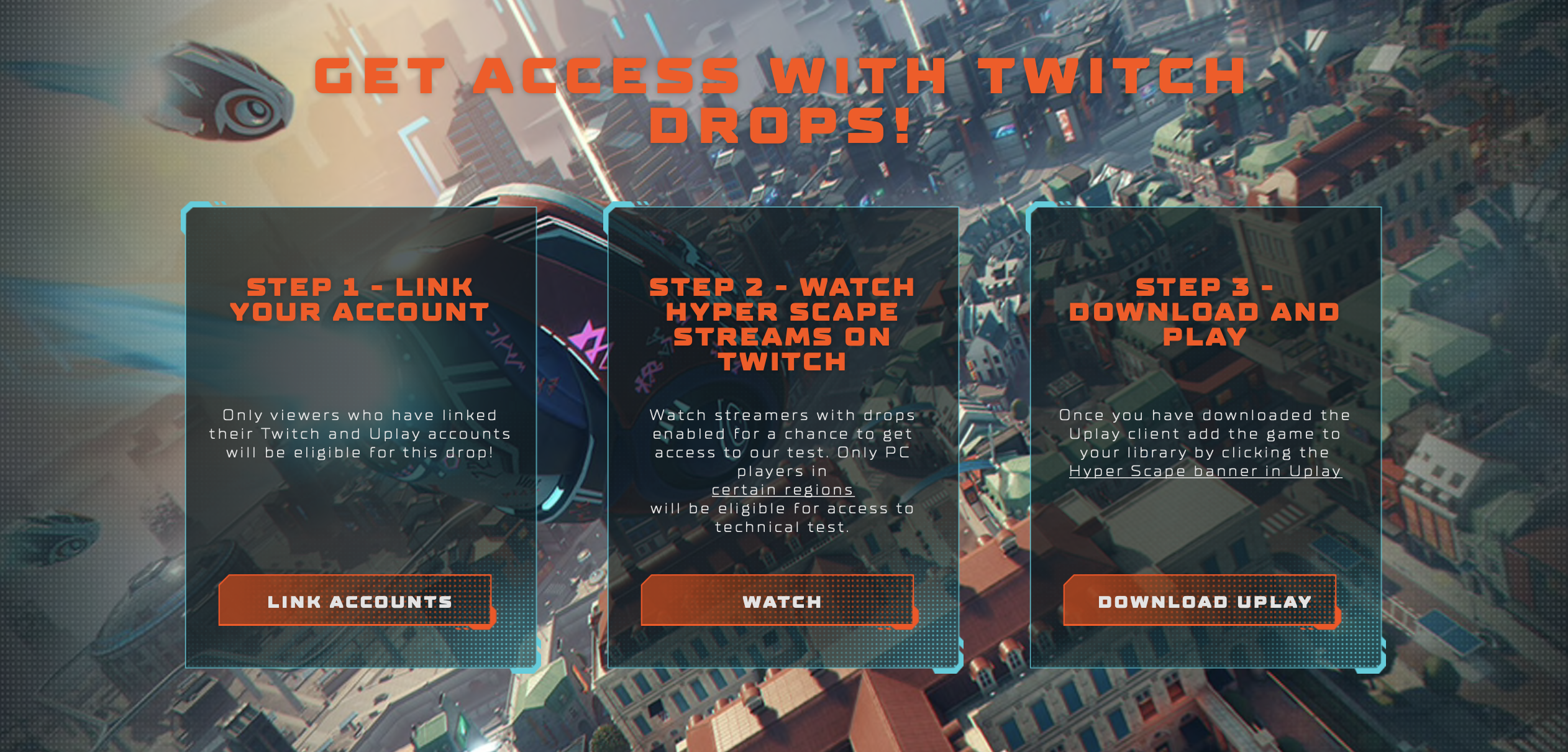 Ubisoft's instructions for Hyper Scape fans to sign up for the closet beta and Technical Test.