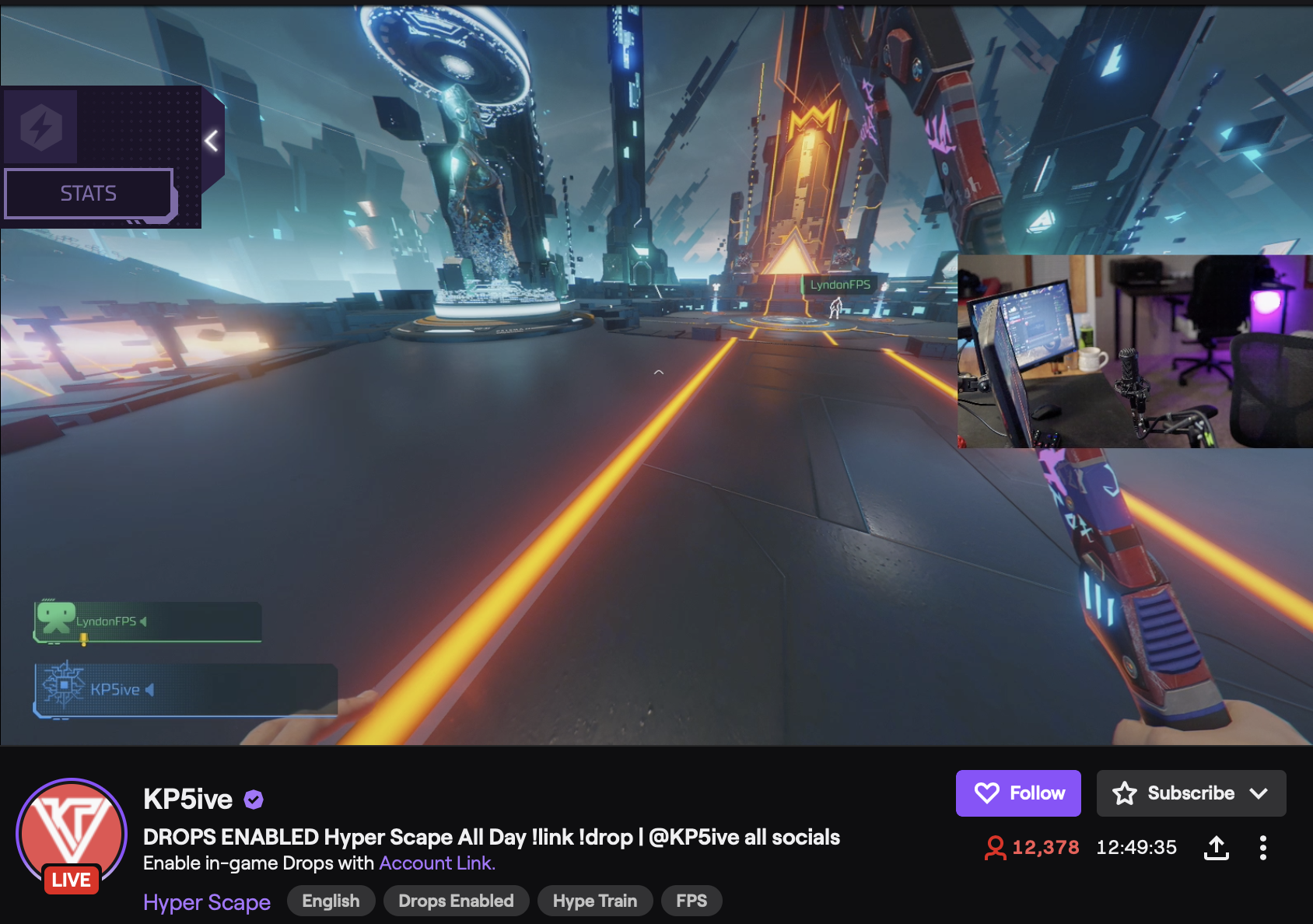 A streamer is playing a game of Hyper Scape with Twitch Drops turned on.