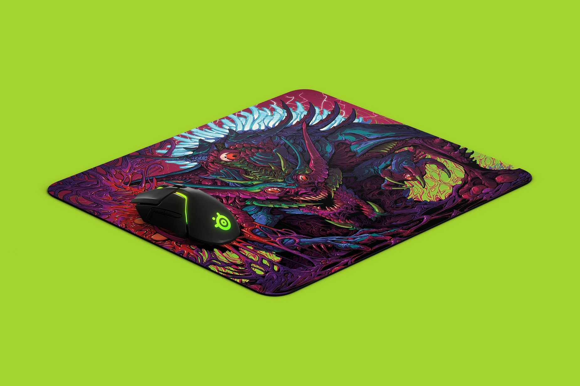 Brock Hofer's SteelSeries QcK mousepad design with a SteelSeries mouse on top