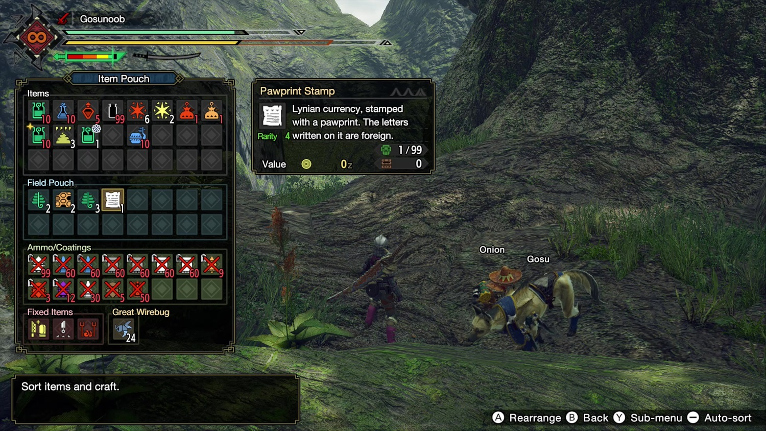 A selection of Pawprint Stamps in the player inventory in Monster Hunter Rise.