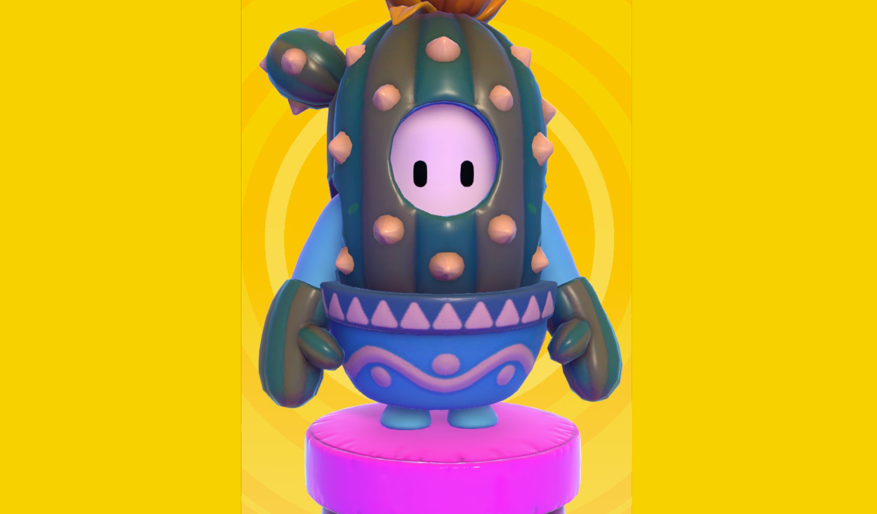 A Fall Guy bean decked out in the legendary skin Prickles, which resembles a potted cactus.