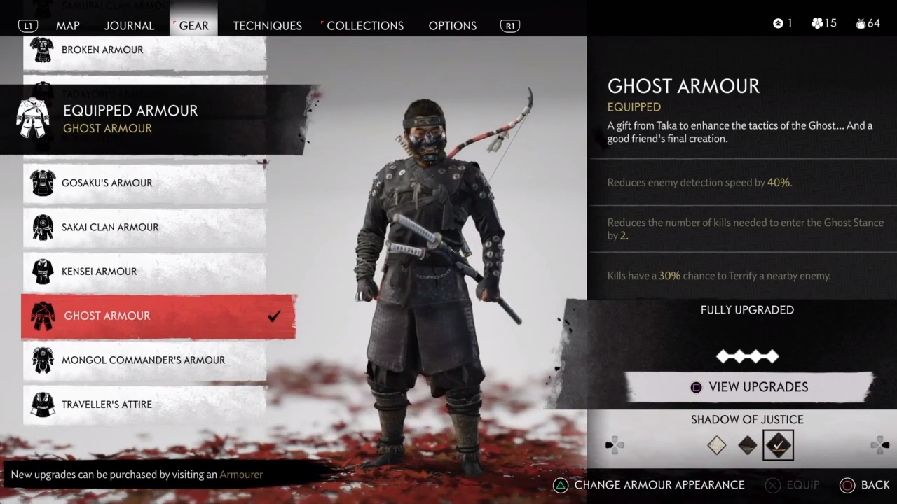 Jin Sakai can be seen standing at the menu wearing his Ghost Armor.