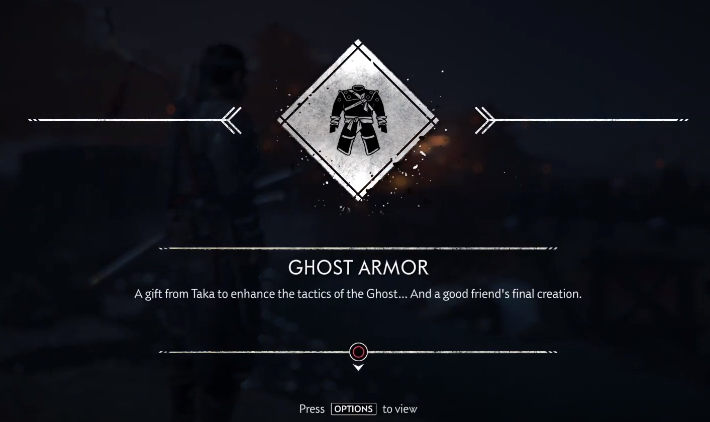 The game informs you that you've received the Ghost Armor.