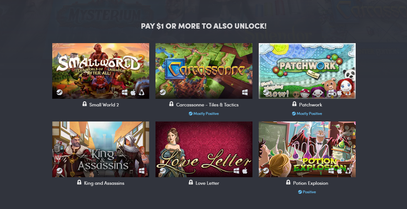 "Humble Bundle webpage displaying the ""Pay $1 or more to also unlock!"" category of 6 games: ""Small World 2"", ""Carcassonne - Tiles & Tactics"", ""Patchwork"", King and Assassins"", ""Love Letter"", and ""Potion Explosion""."