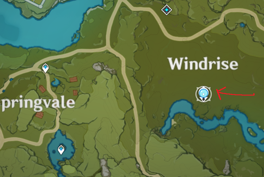 "Arrow pointing to the Statue of the Seven in ""Windrise"" in Genshin Impact's in-game minimap"