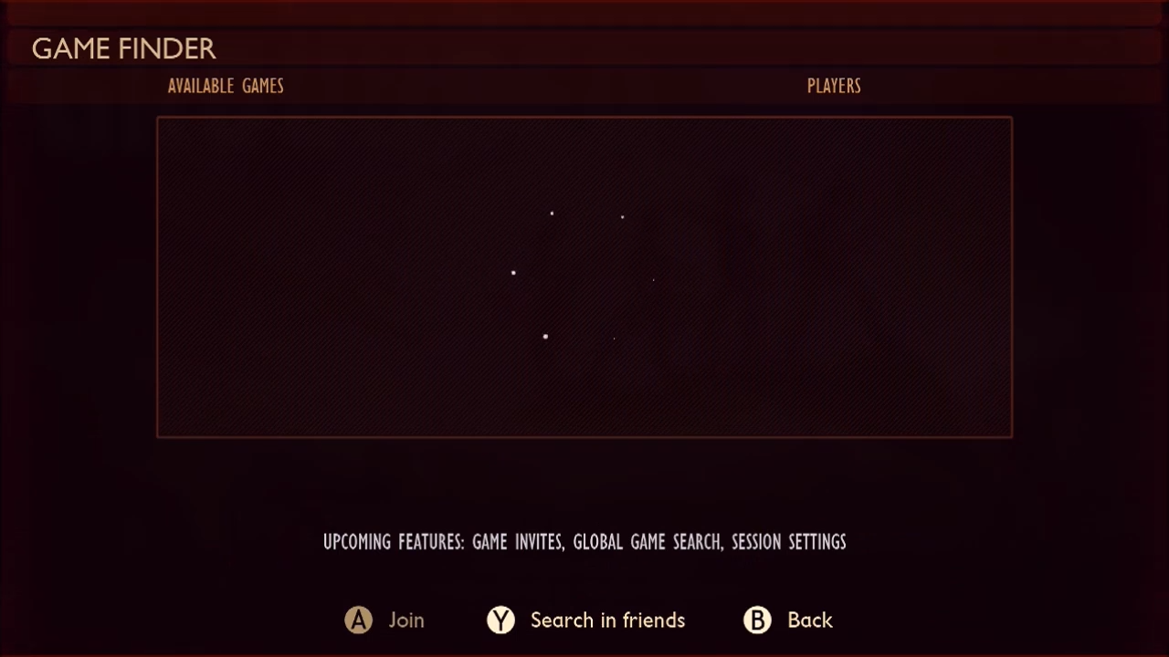 A Grounded menu where players can search for open games.