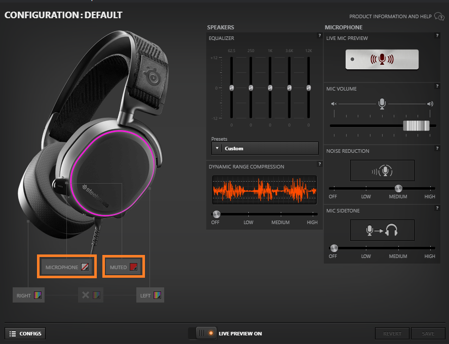 Screenshot from the Arctis Pro audio settings menu in SteelSeries Engine software