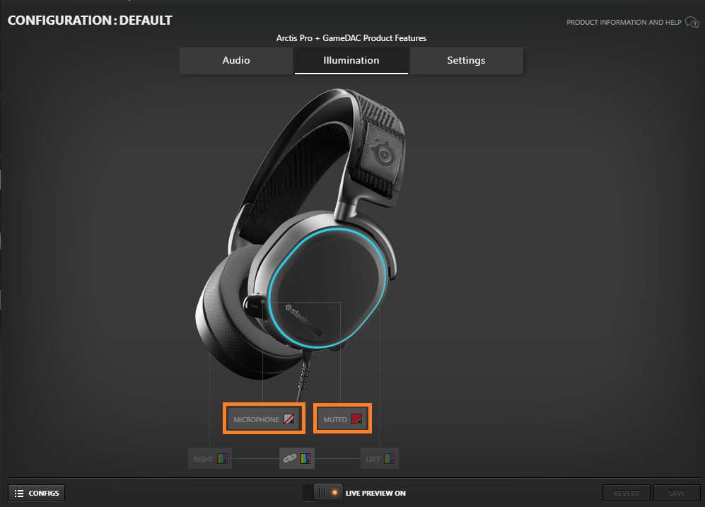 Screenshot from the Arctis Pro + GameDAC audio settings menu in SteelSeries Engine software