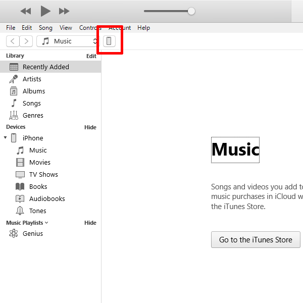 iTunes in iOS menu with a phone-shaped device icon