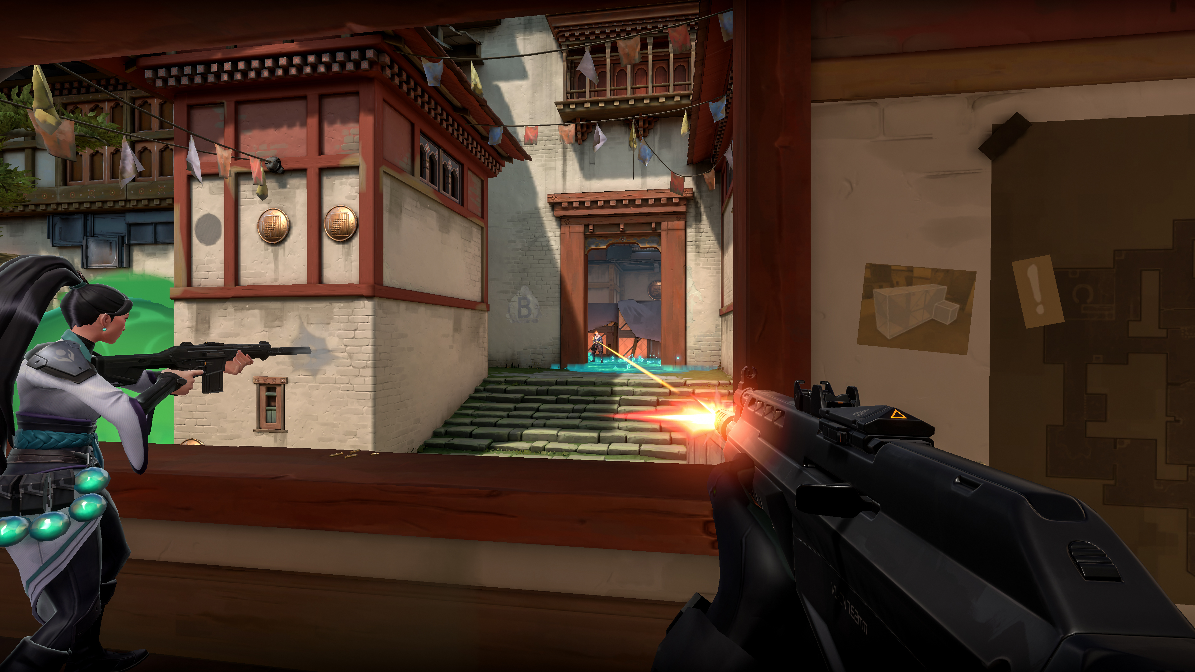 3 players shooting at each other around a window location in Valorant