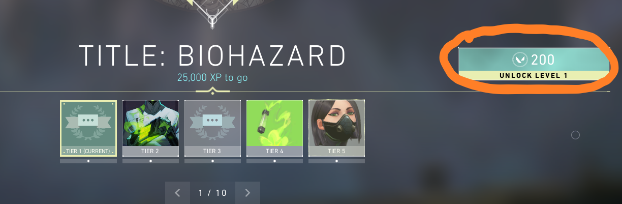"In-game screenshot from Valorant's main menu displaying ""Title: Biohazard"", ""25.000 XP to go"", contract tiers 1-5, and a button for ""unlock level 1"""