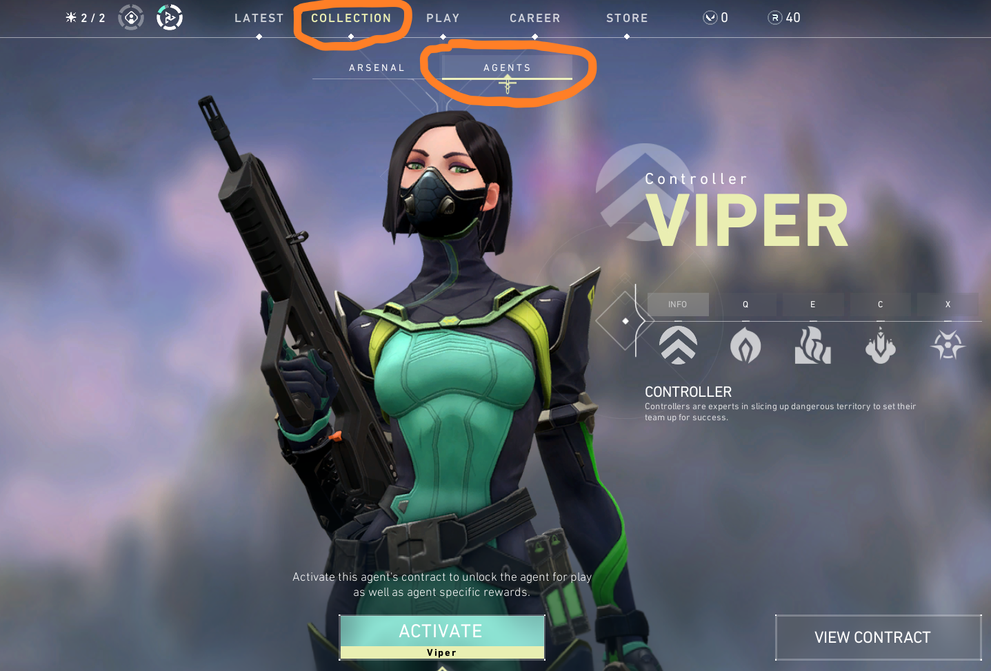 "In-game screenshot from Valorant's main menu with buttons for ""latest"", ""collection"", ""play"", ""career"", ""strore"", ""arsenal"", and ""agents"". A separate button reads ""Activate Viper"" and another reads ""View Contract"""