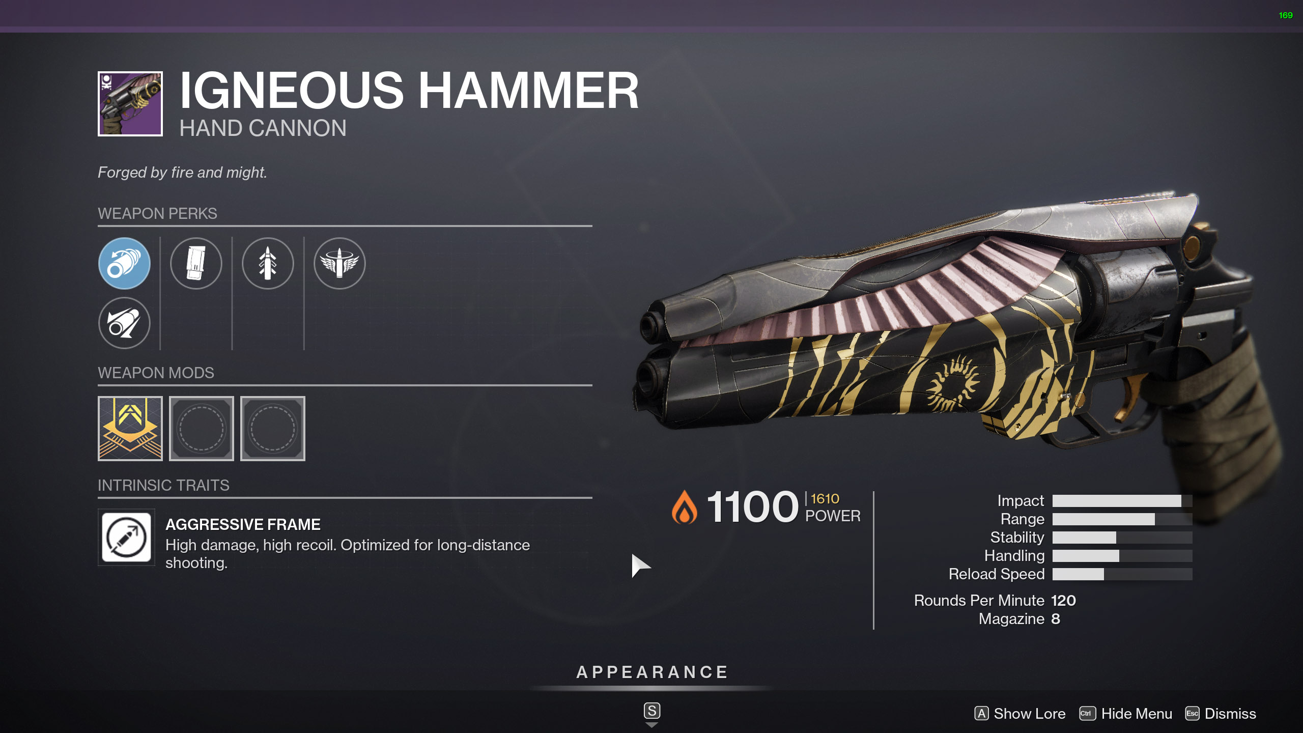 A look at the Igneous Hammer Hand Cannon in Destiny 2.