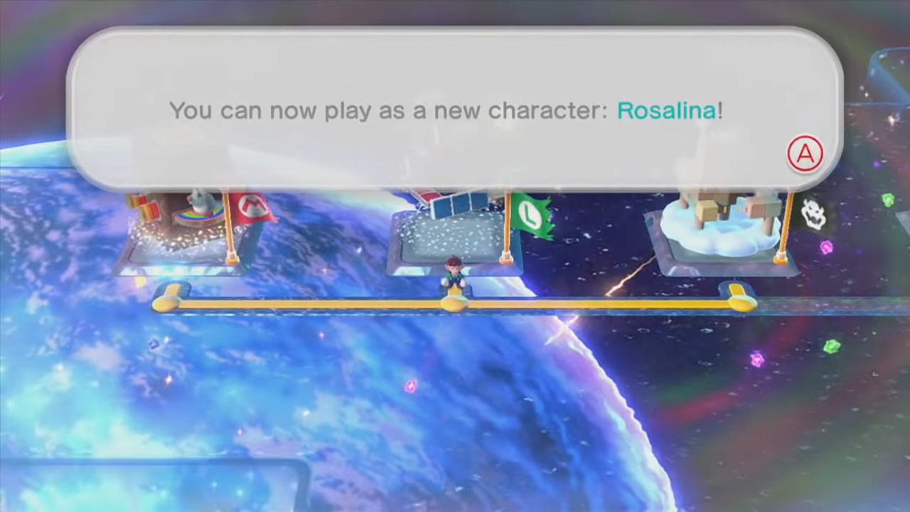 A message stating Rosalina is now playable after completing the level.