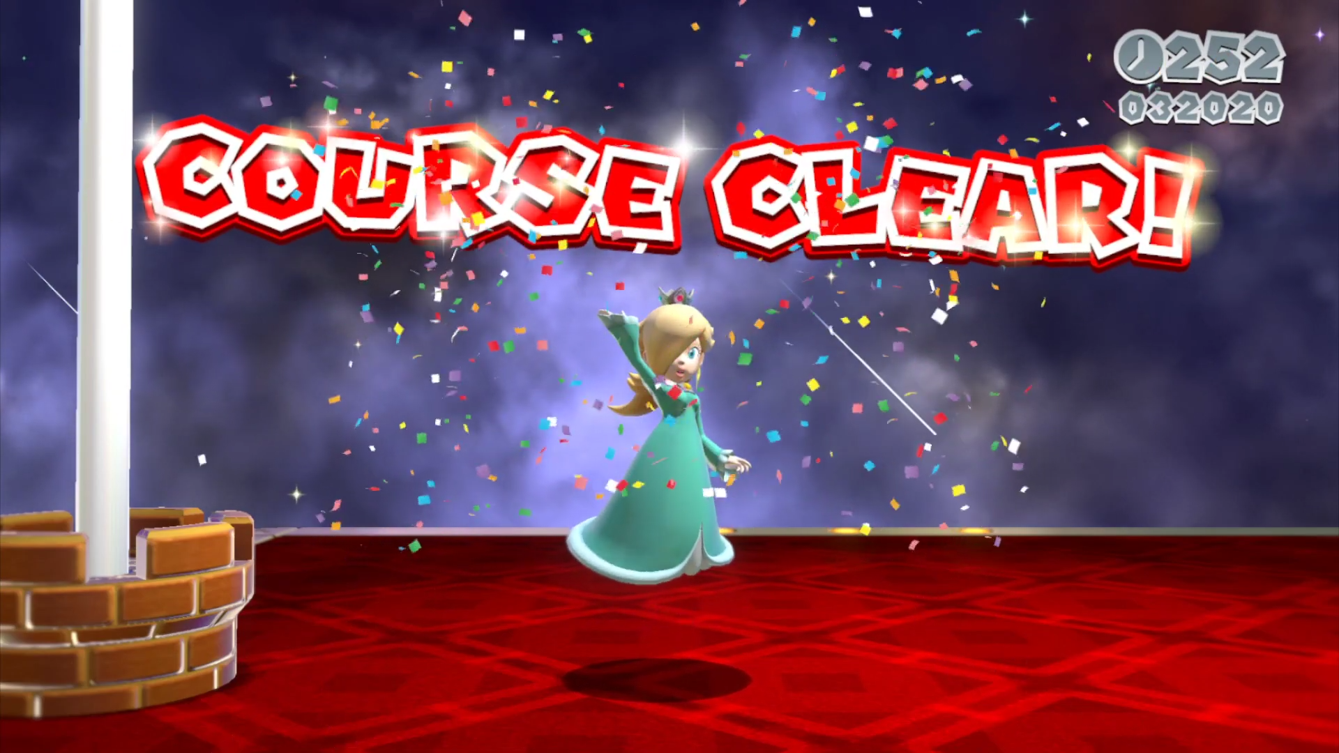Rosalina completes a level in Super Mario 3D World + Bowser's Fury