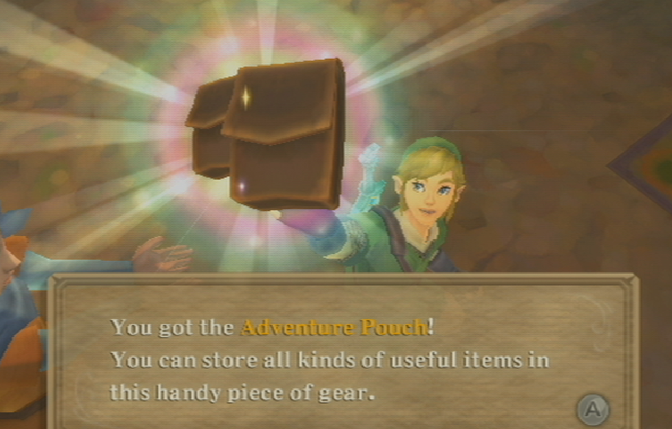 Link proudly holds up the Adventure Pouch.
