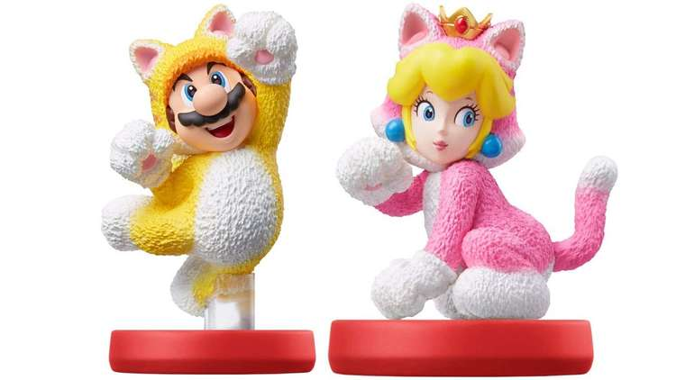 The new Cat Mario and Cat Peach amiibo made for Super Mario 3D World + Bowser's Fury.