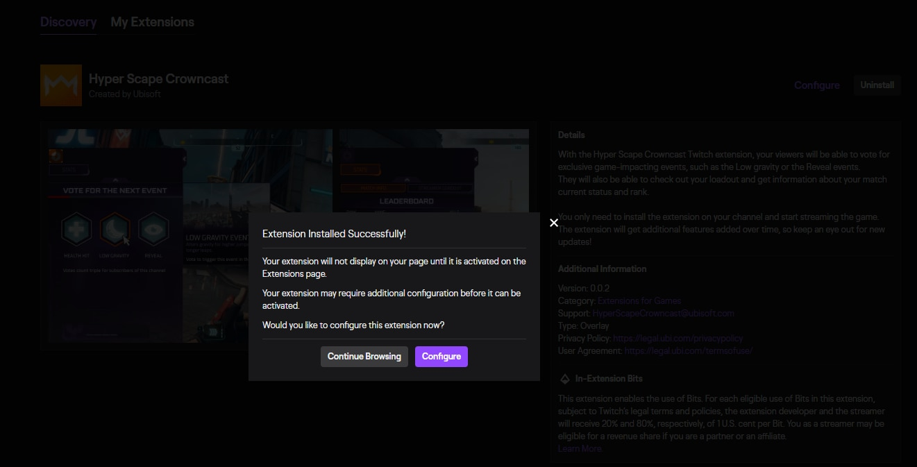 A Twitch sub-menu showing that the Hyper Scape Crowncast extension was installed successfully.