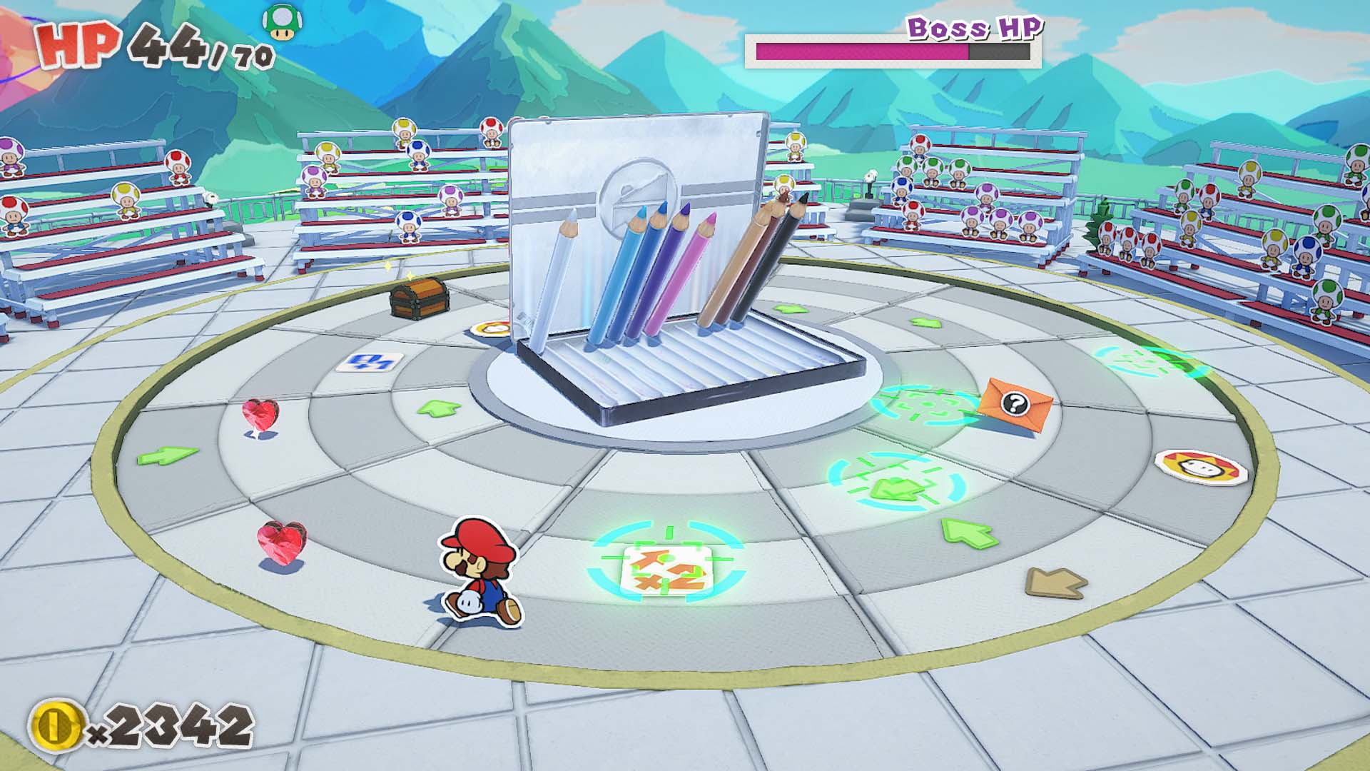 A typical combat setup where Mario is facing off against a colored pencil boss.