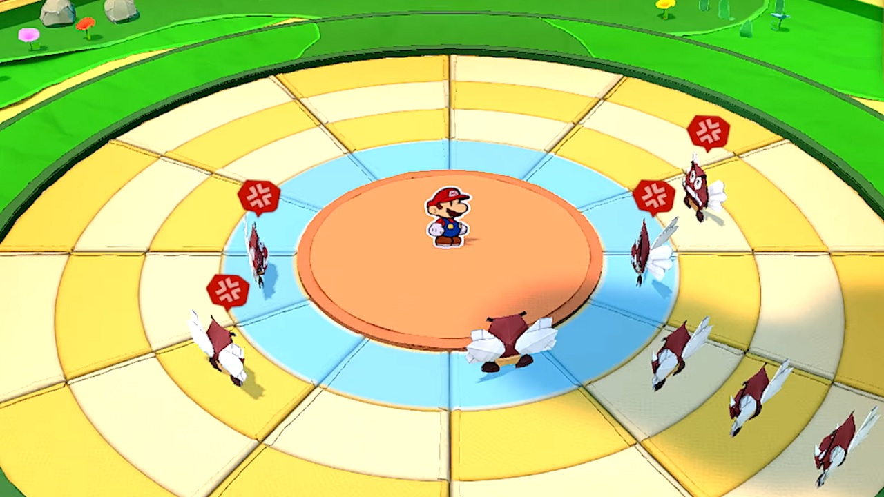Mario engages in battle with Goombas after arranging rings at the beginning of battle.