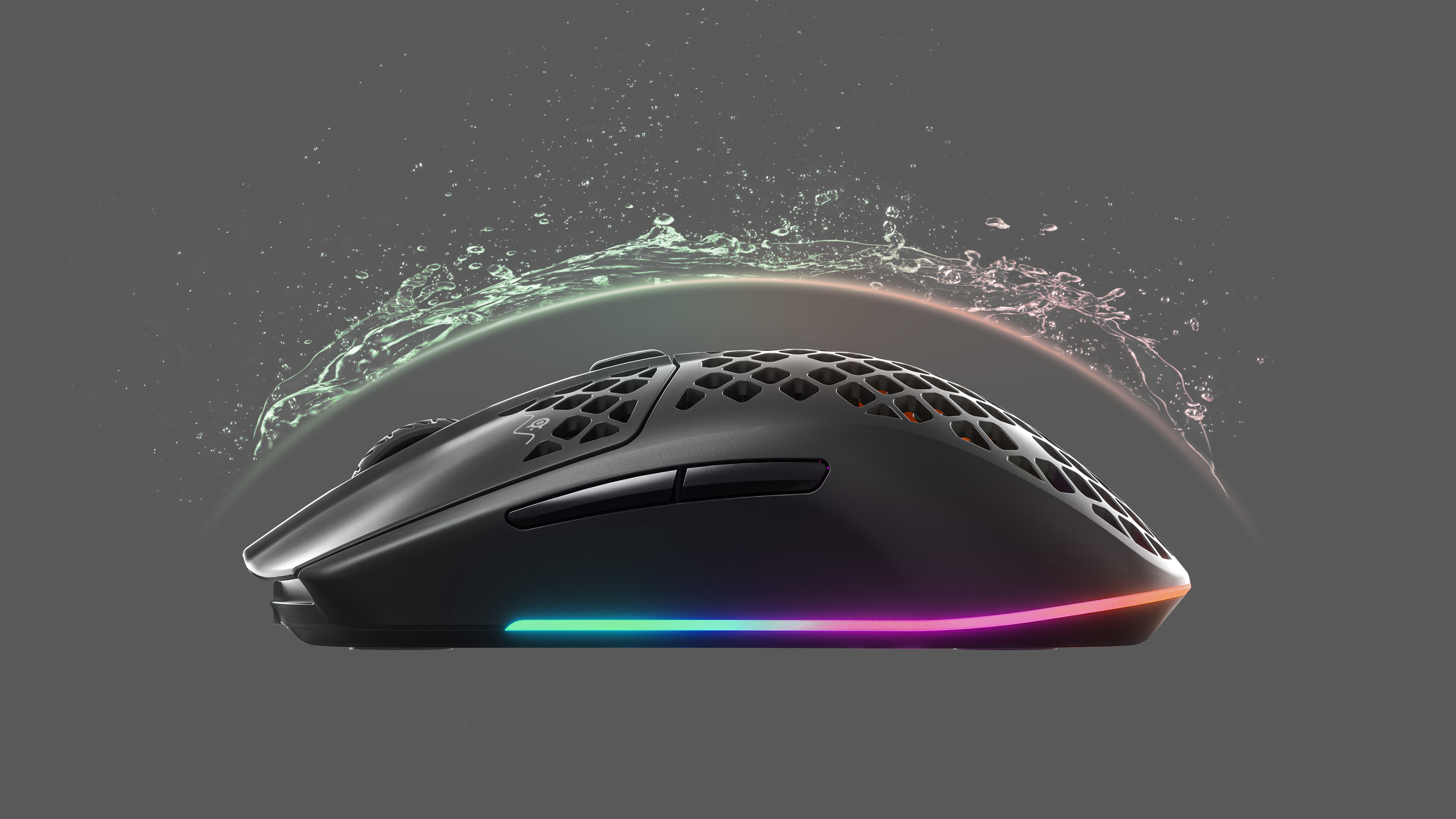 Aerox mouse being splashed with water