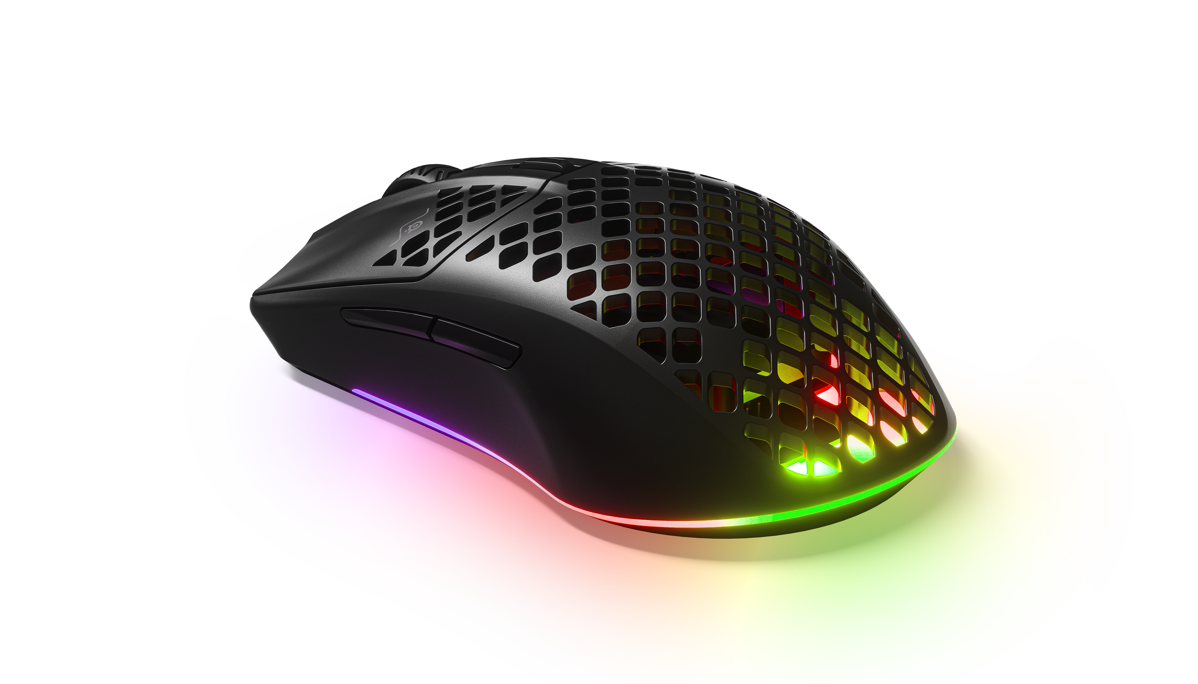 Aerox 3 Wireless mouse with RGB lighting shining through the holes