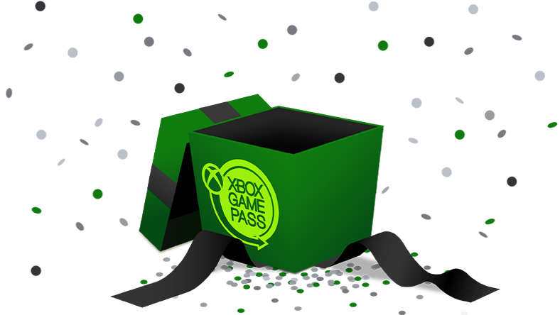 An opened, green gift box with the Xbox Game Pass logo on the side, surrounded by confetti
