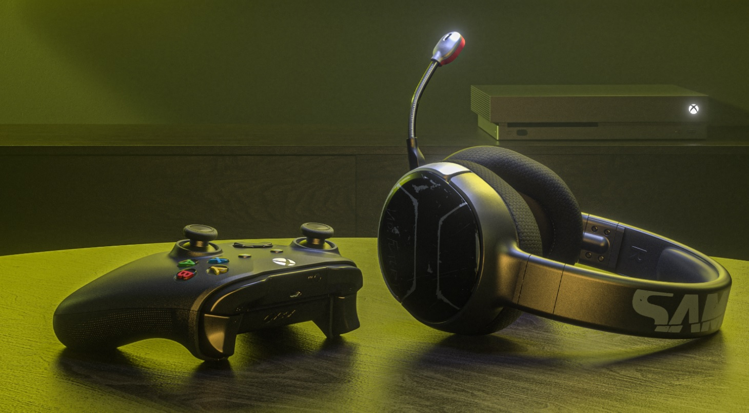 A black Xbox One controller sits next to a SteelSeries Arctis 1 wireless Xbox One headset, Johnny Silverhand edition. An Xbox One console sits in the background
