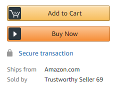 "Amazon product page that reads ""Sold by Trustworthy Seller 69"""