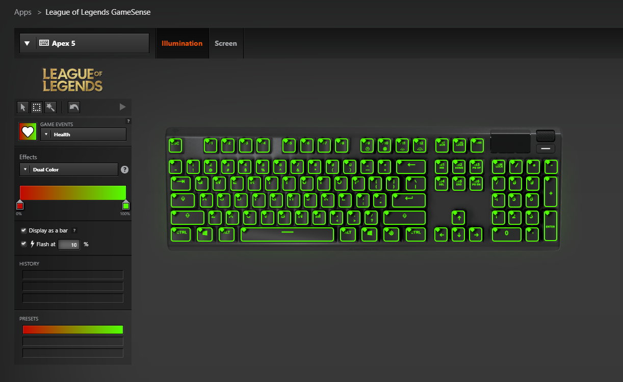 All keys customized with a health-based RGB display in SteelSeries Engine