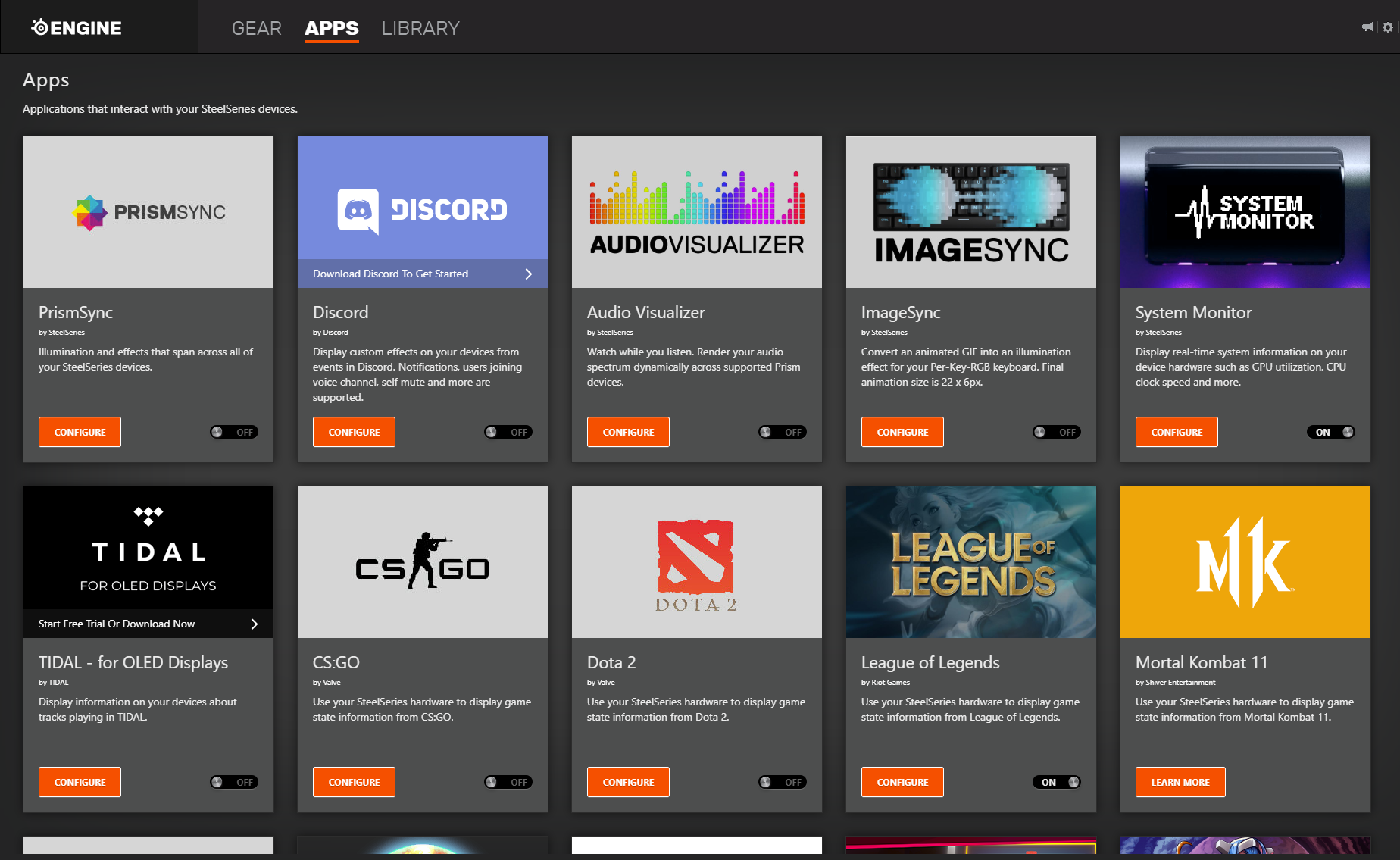 Supported programs in SteelSeries Engine including League of Legends