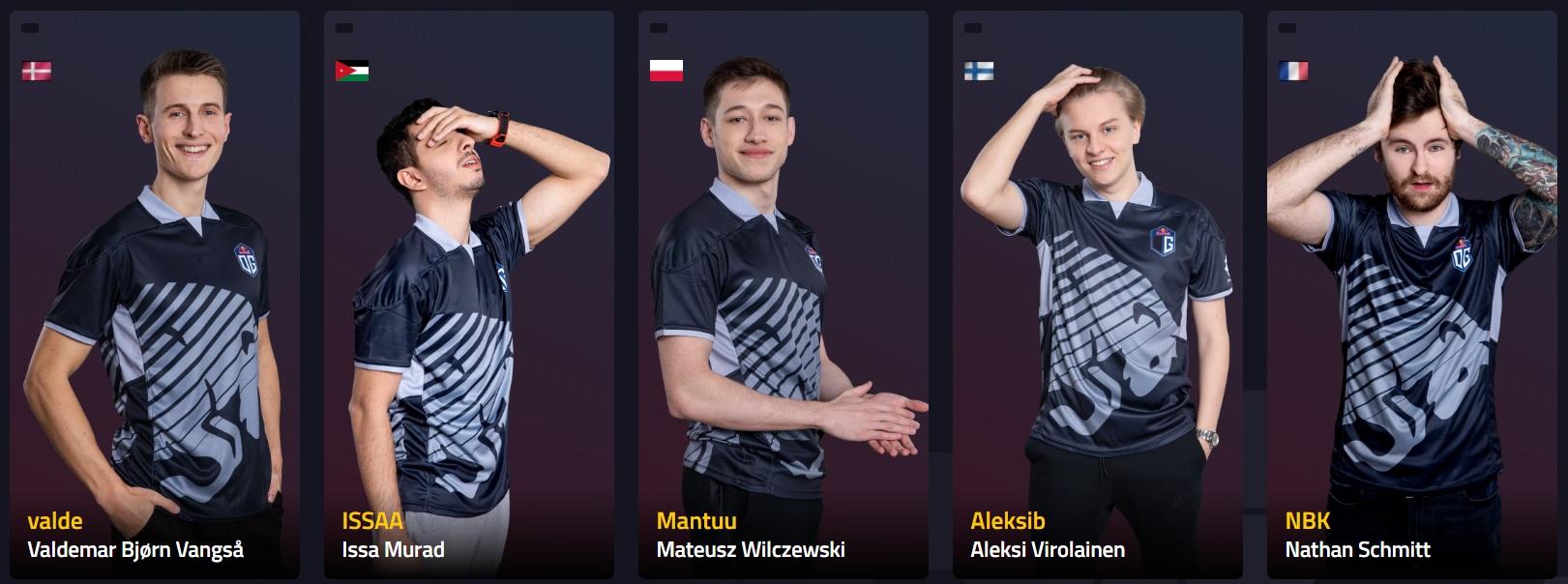 "OG CS:GO team players Nathan Jordan ""NBK-"" Schmitt, Aleksi Antti Kaarlo ""Aleksib"" Virolainen, Valdemar Bjørn ""valde"" Vangså, Issa Sameer Issa ""ISSAA"" Murad, and Mateusz ""mantuu"" Wilczewski"