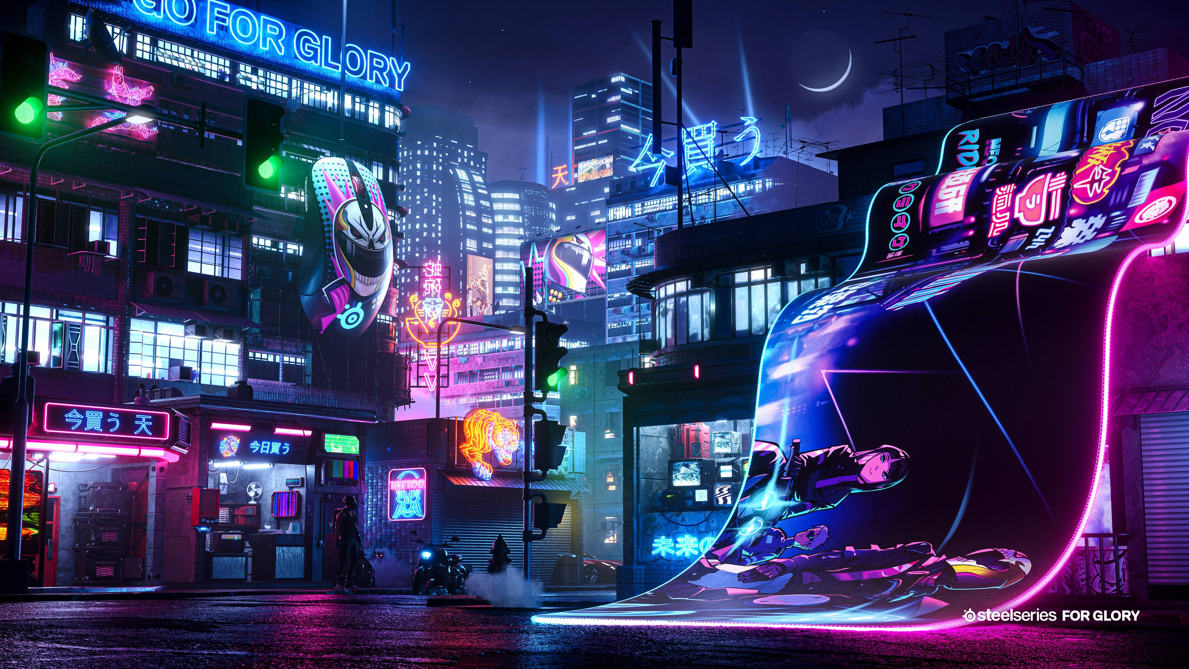 Neon Rider SteelSeries mouse and mousepad overlaid on a futuristic Neon Rider city design