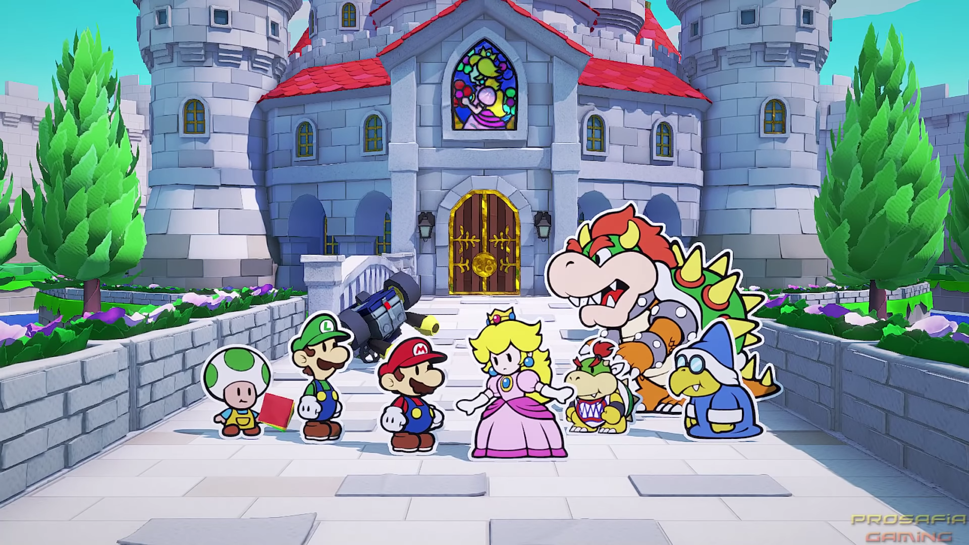 The Mario gang gathers in front of Peach's Castle to talk about what went down.