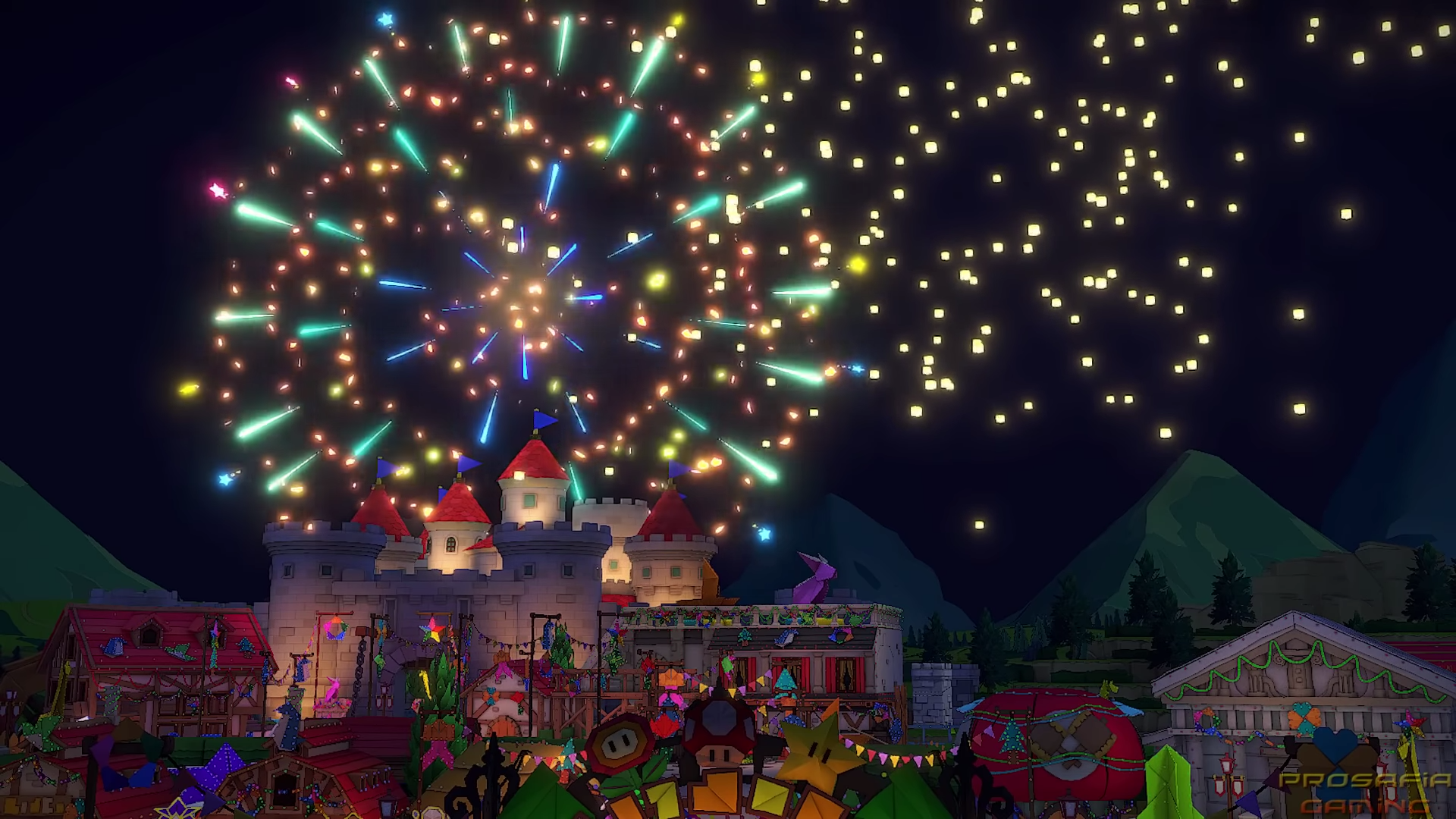 Origami crane lanterns fly into the sky while Toad Town celebrates.