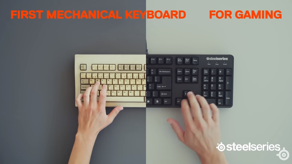split screen between original mechanical keyboard and SteelSeries' first mechanical keyboard for gaming, with SteelSeries logo in the bottom corner