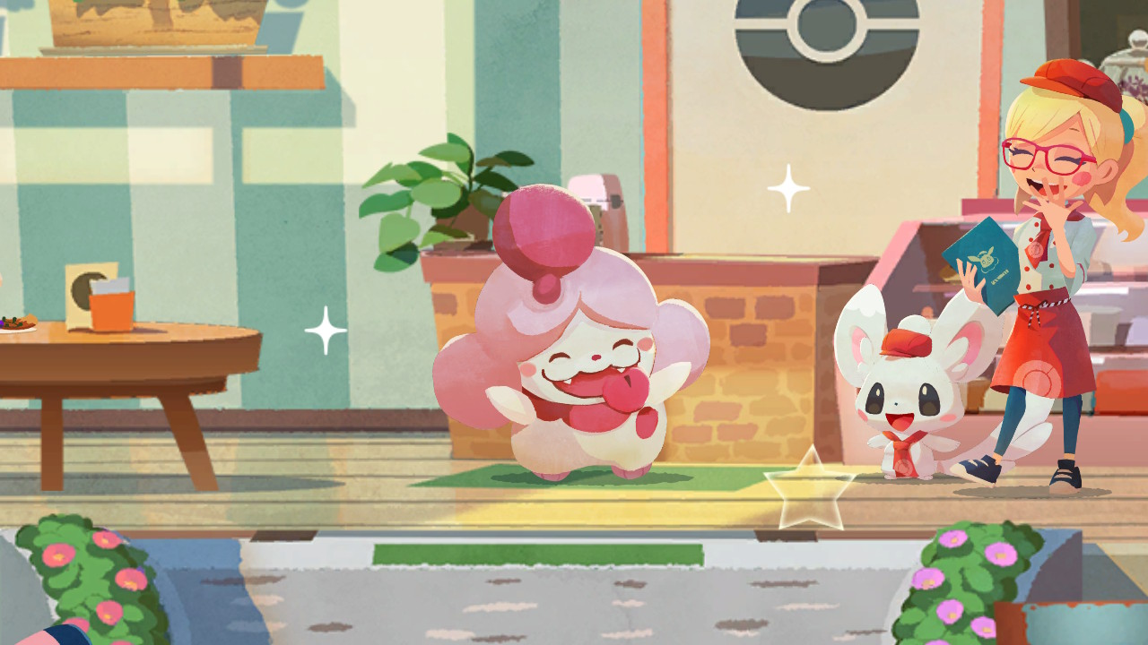 Leah, Minccino, and Slurpuff are seen hanging out at the cafe.