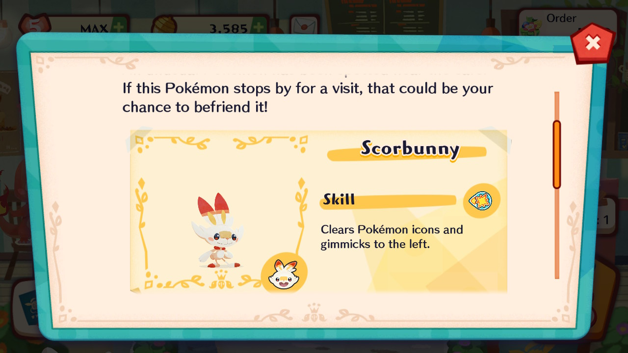 Pokemon Cafe Mix offers instructions on how to recruit Scorbunny to your team.