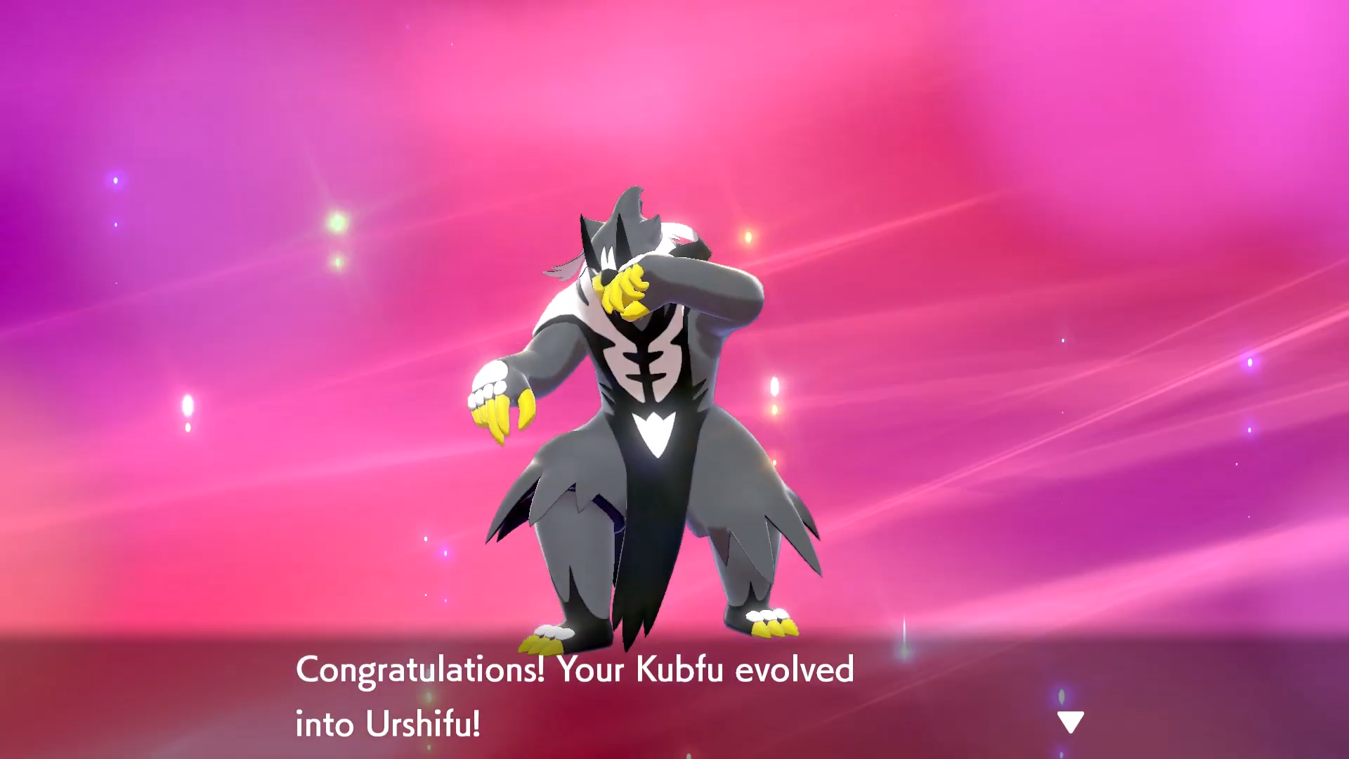 A newly-evolved Rapid-Strike Style Urshifu giving a powerful pose.