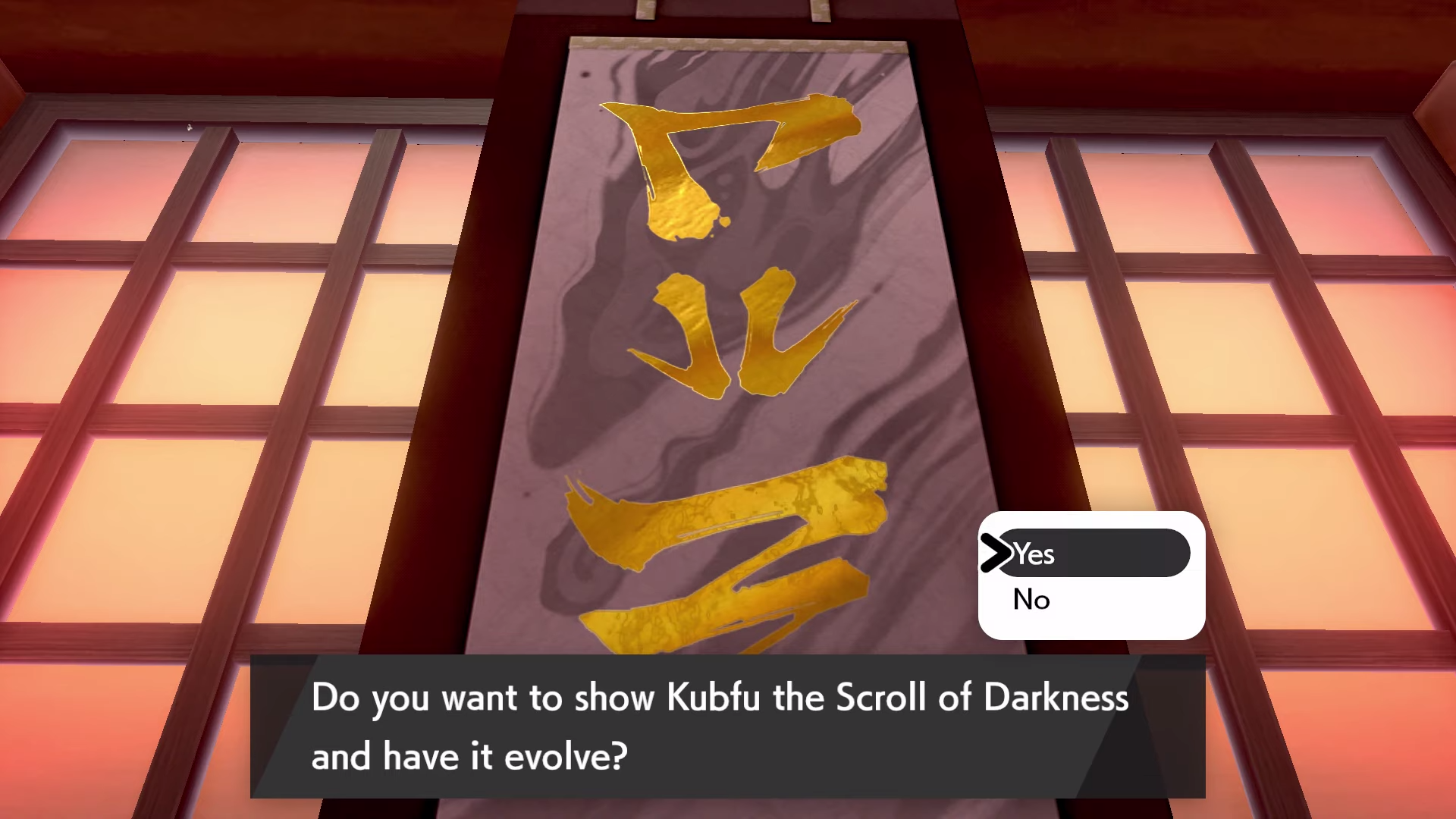 Kubfu deliberates over reading the Scroll of Darkness before evolving.