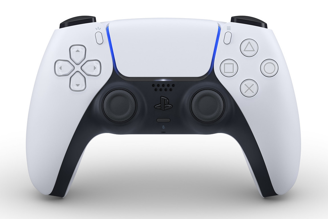 The white and black DualSense Controller for PlayStation 5.