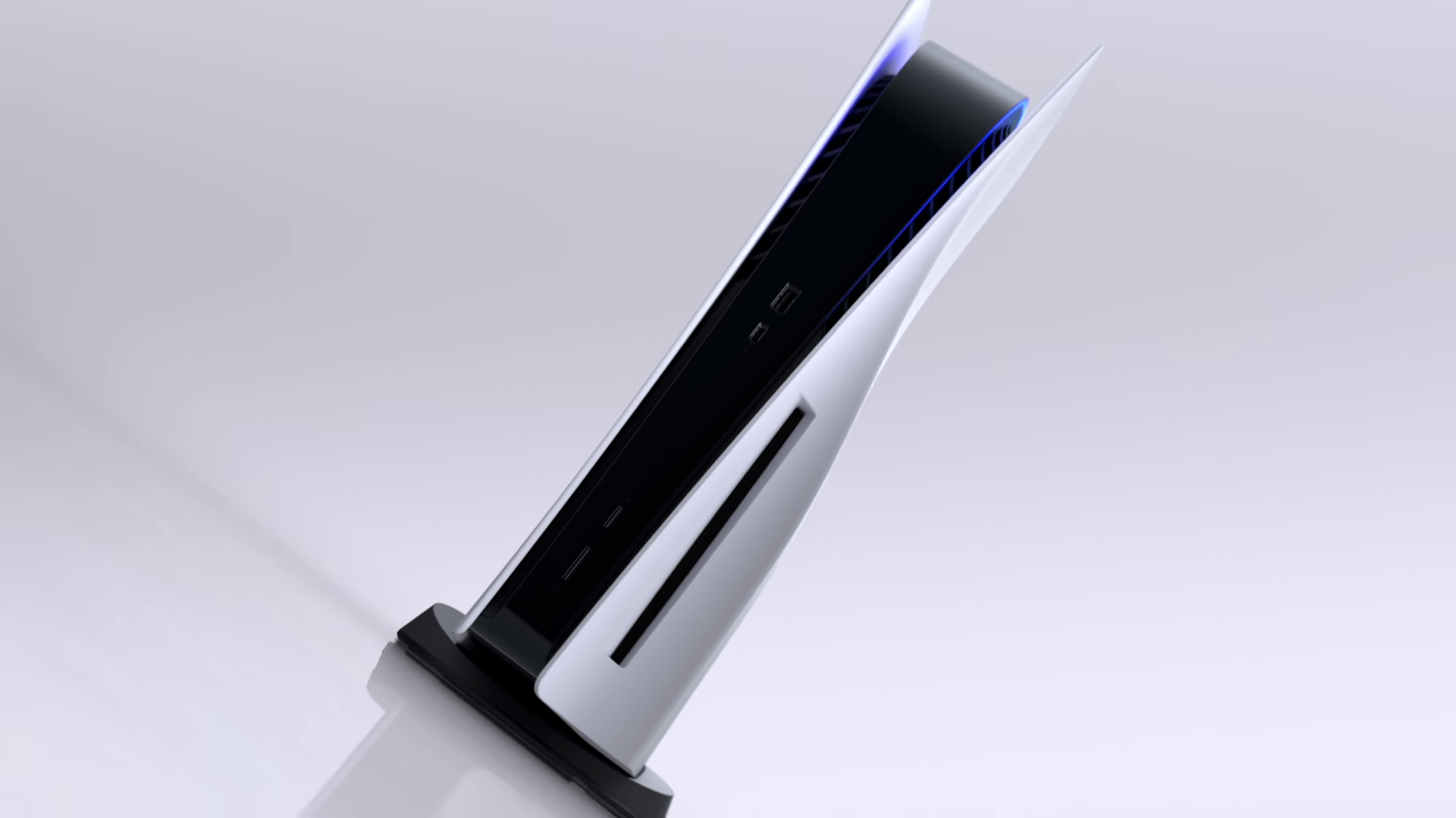 The PlayStation 5 console, tilted sideways, from its initial reveal video.