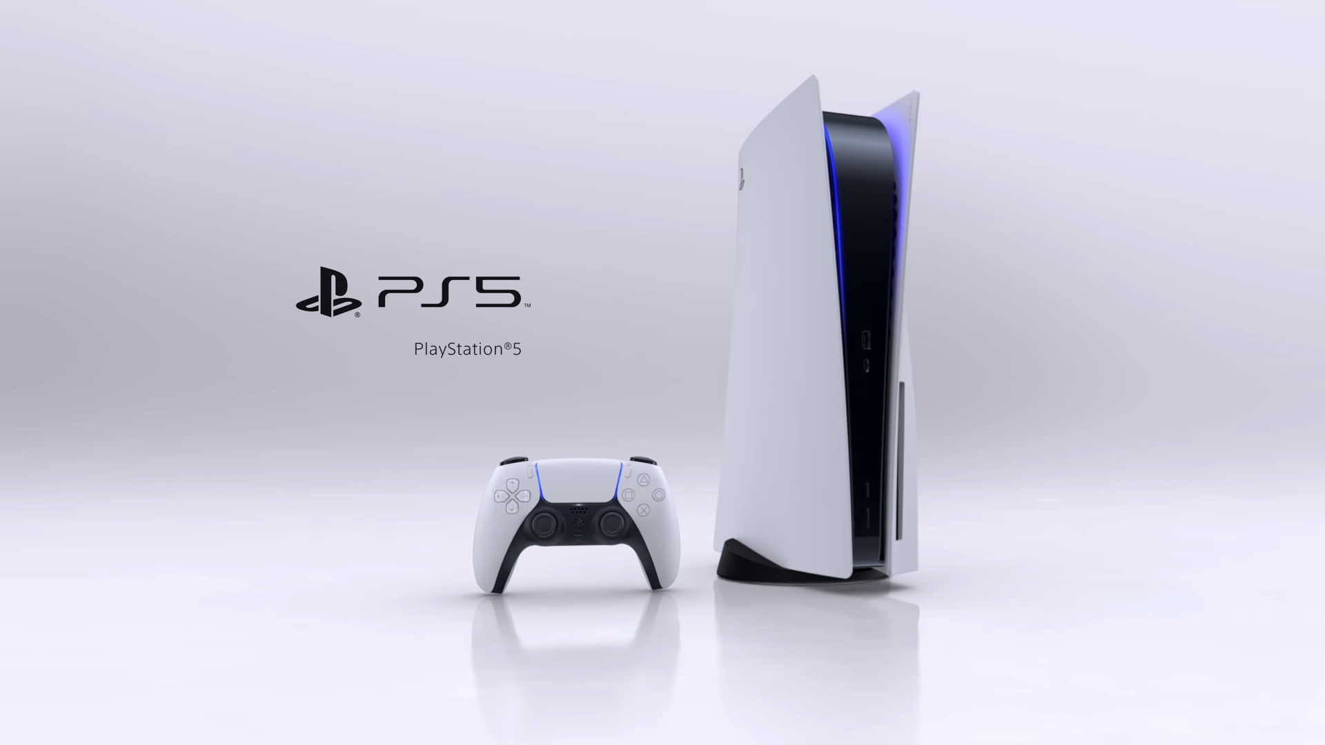 The PlayStation 5 sitting upright flanked by the DualSense controller.