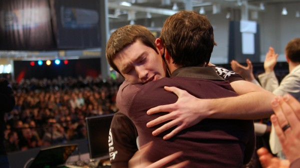 rapha hugging man