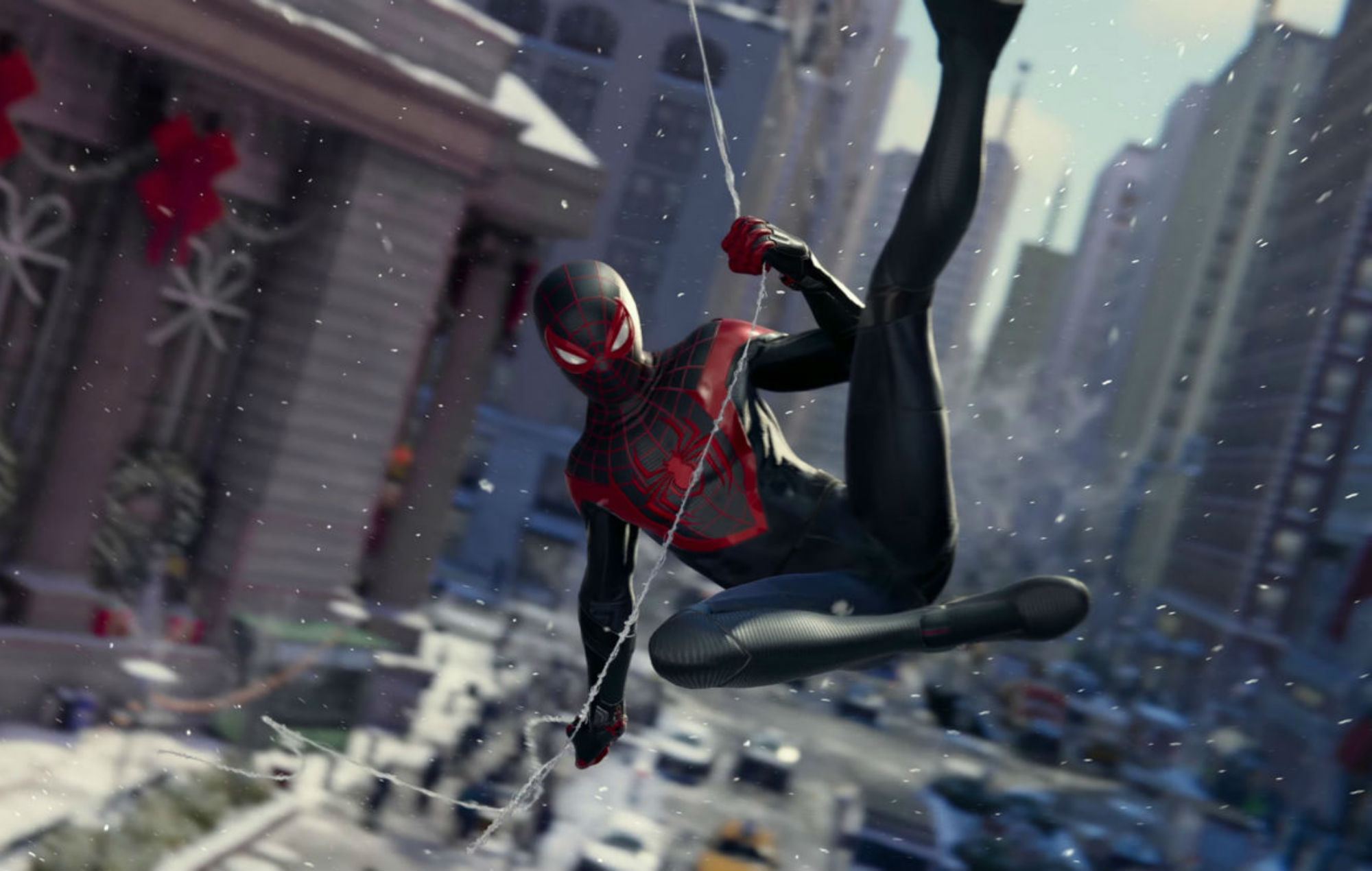 Miles Morales as Spider-Man zips toward the screen.