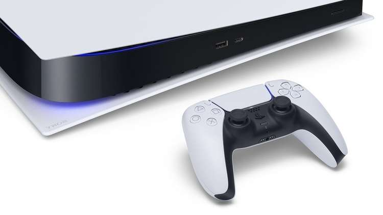 A side view of the PlayStation 5 and its DualSense controller